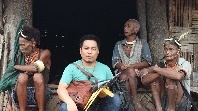 Research trip photo with the former tattooed headhunters, Mon district Nagaland