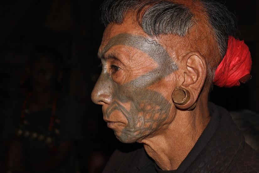 The Iconic facial tattoo of the Konyak Nagas. Photo by Mo Naga