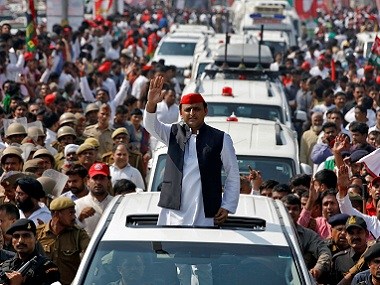 Akhilesh Yadav during a campaign. Reuters