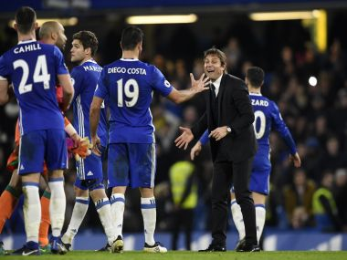 Chelsea's Diego Costa and Chelsea manager Antonio Conte celebrate. Reuters