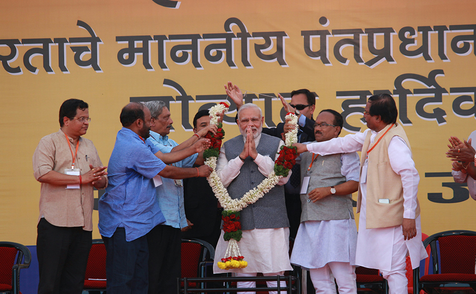 PM Modi, Parrikar address rally in Panaji; promise to boost tourism in Goa