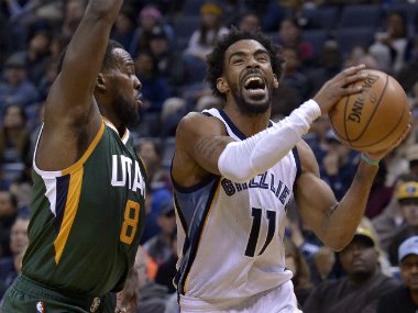 Grizzlies' Mike Conley (R) during the game against the Utah Jazz. AP