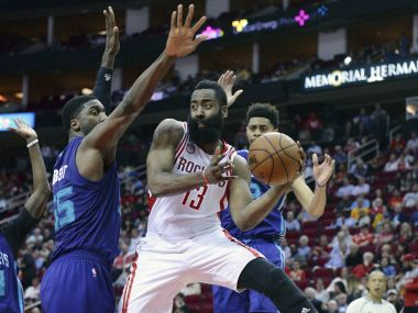 Houston Rockets guard James Harden in action against Charlotte Hornets. AP