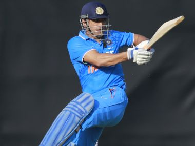 Mahendra Singh Dhoni in action against England XI. AP