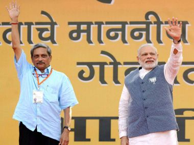 Prime Minister Nrendra Modi and Defence Minister Manohar Parrikar during an election campaign rally in Panaji, Goa. PTI