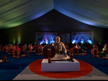 A file image of PM Modi wielding a charkha at an event in Ludhiana Agricultural University. Twitter/ @narendramodi