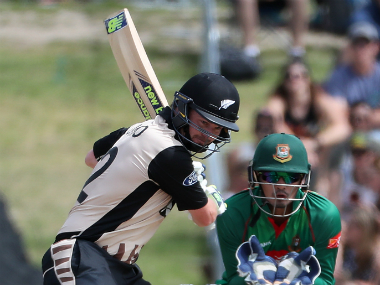 Colin Munro plays a shot during the second T20 between New Zealand and Bangladesh. AFP