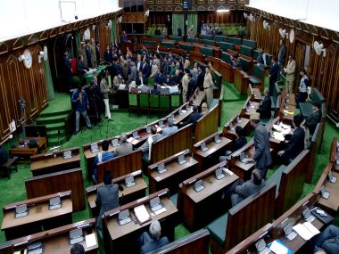 Ruckus in the J&K Assembly. Photo courtesy: Sameer Yasir