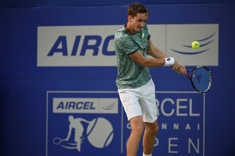 Russian Daniil Medvedev in action. Image courtesy: Chennai Open