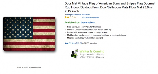 he American flag doormat is listed on Amazon.