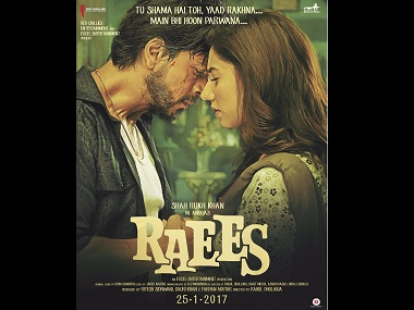 Shah Rukh Khan with Mahira Khan in a poster for 'Raees'