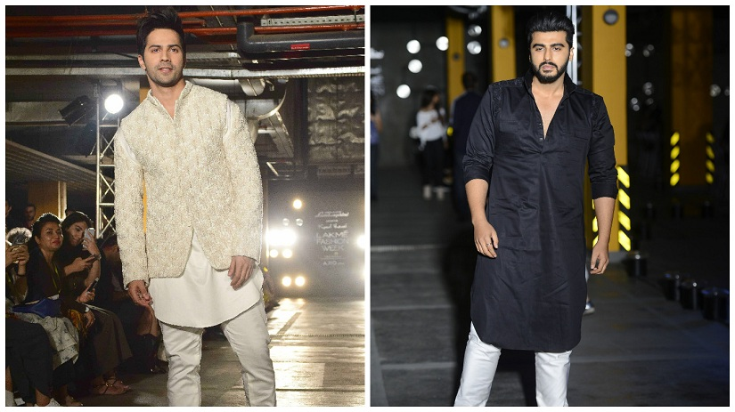 Varun Dhawan and Arjun Kapoor walked the ramp for Kunal Rawal during his show at the Lakme Fashion on the first day, 1 February 2017. SOLARIS IMAGES