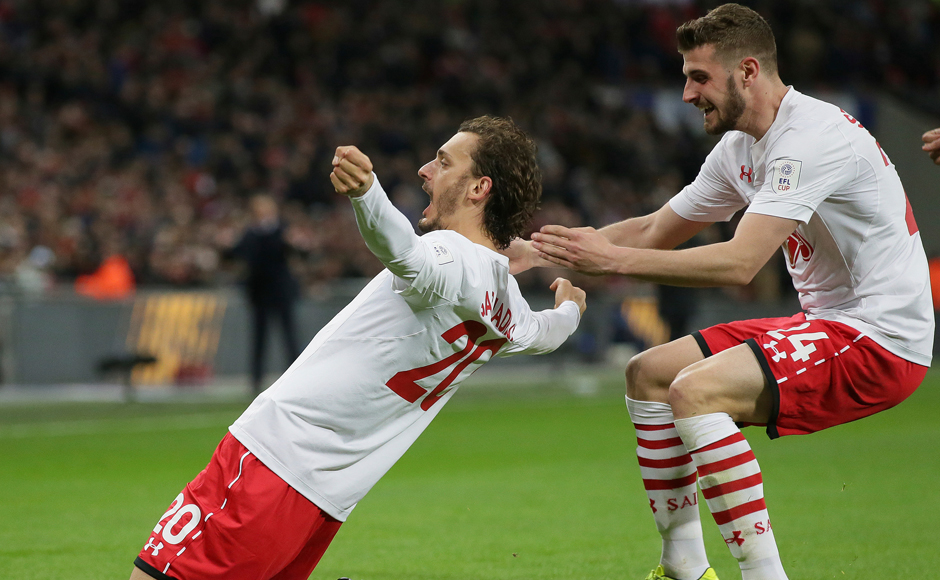 Southampton's Manolo Gabbiadini, left, and Southampton's Jack Stephens celebrate after scoring during the English League Cup final soccer match between Manchester United and Southampton FC at Wembley stadium in London, Sunday, Feb. 26, 2017. (AP Photo/Tim Ireland)