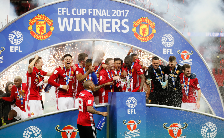 United players celebrate after winning the English League Cup final soccer match between Manchester United and Southampton FC at Wembley stadium in London, Sunday, Feb. 26, 2017. (AP Photo/Kirsty Wigglesworth)