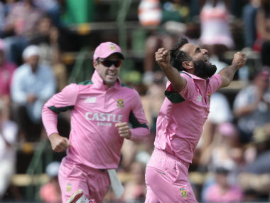 File photo of South Africa's AB de Villiers and Imran Tahir. AFP