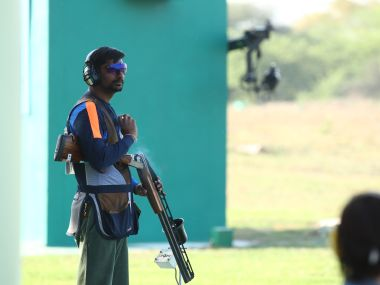 India's Ankur Mittal during his double trap event at the ISSF World Cup in New Delhi where he had won silver.