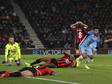 Manchester City move second after win over Bournemouth. AP