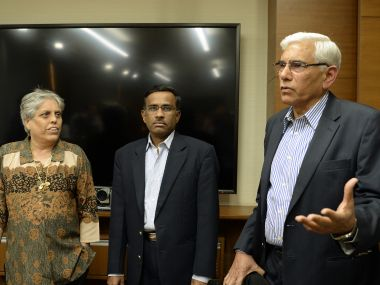 Vinod Rai (right), Diana Edulji (left) and Vikram Limaye, who are a part of the SC-appointed panel of administrators. AFP