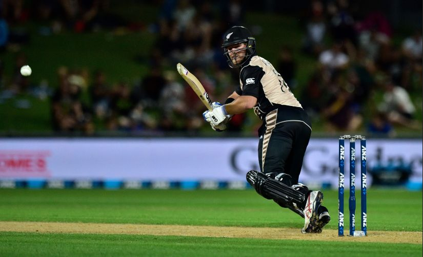 New Zealand's Corey Anderson bats during the first Twenty20 international cricket match between New Zealand and Bangladesh at McLean Park in Napier on January 3, 2017. / AFP PHOTO / Marty Melville