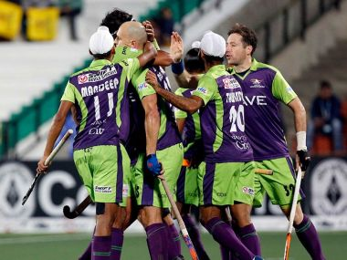 Delhi Waveriders celebrate during their win over Punjab Warriors. Twitter/ @HockeyIndiaLeag
