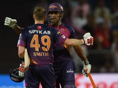Rising Pune Supergiants Steven Smith along with Mahendra Singh Dhoni in IPL 2016. AFP