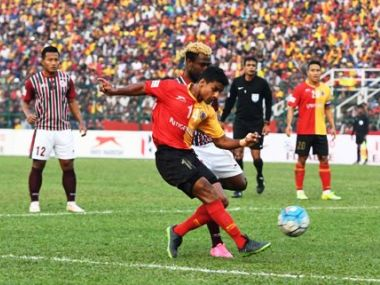 East Bengal and Mohun Bagan are separated by just one point in the table. Twitter/ @ILeagueOfficial