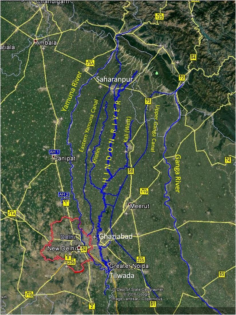 A map of the Hindon river. Image courtesy: Sajid Idrisi