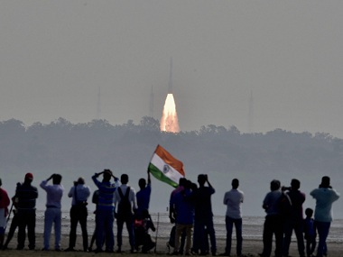 An Isro rocket with 104 satellites takes off from Sriharikota. PTI