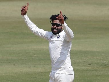India's Ravindra Jadeja celebrates a wicket the fifth day of the Test match against Bangladesh. AP