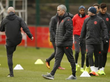 Manchester United manager Jose Mourinho during training ahead of the Europa League clash. Reuters