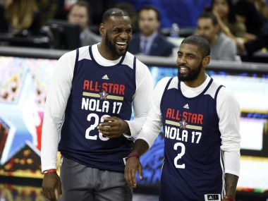 Eastern Conference's LeBron James and Kyrie Irvingof the Cleveland Cavaliers during the NBA All-Star Practice. Reuters