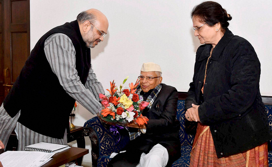 BJP president Amit Shah welcomes former Uttarakhand chief minister ND Tiwari to party fold
