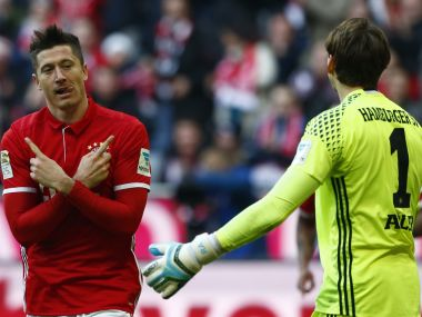 Bayern Munich's Robert Lewandowski celebrates a goal against Hamburg. REUTERS