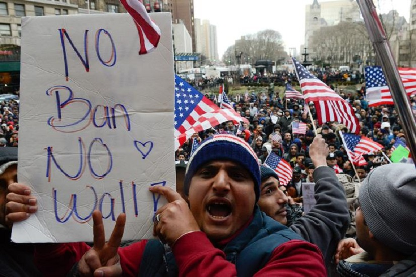 People participate in a Yemeni protest against President Donald Trump's travel ban in the Brooklyn borough of New York City, U.S. February 2, 2017. REUTERS/Stephanie Keith
