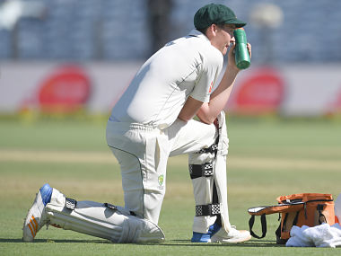 Australia's Matthew Renshaw rests during a drinks break on the first day. AFP
