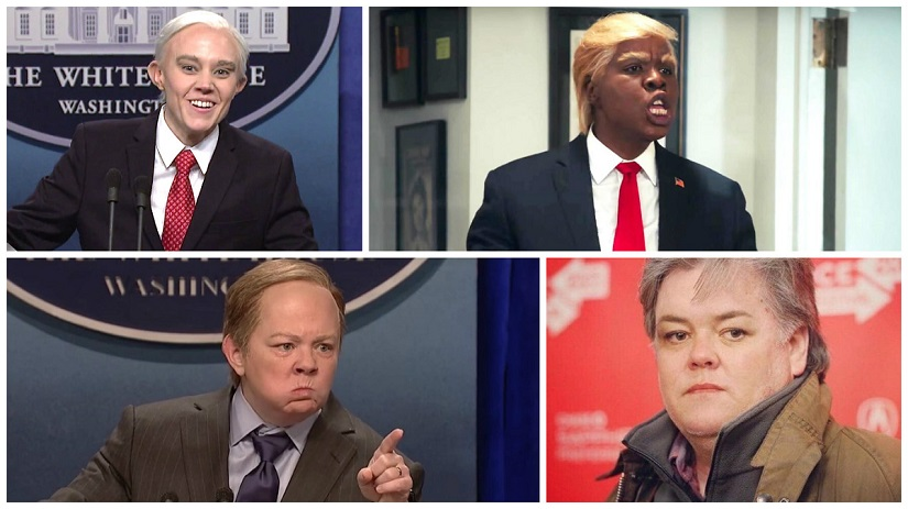 (Clockwise from top left) Kate McKinnon as Jeff Sessions; Leslie Jones channels Donald Trump; Rosie O'Donnell unveils her Steve Bannon look; Melissa McCarthy does her Sean Spicer act