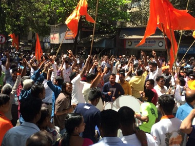 Shiv Sena supporters celebrate their party's performance in the BMC election. Firstpost/Akshay Jagtap