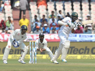 Bangladesh's Shakib Al Hasan plays a shot on the third day of the Test match against India. AFP