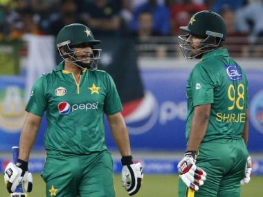 Khalid Latif and Sharjeel Khan, the Pakistan cricketers accused of spot-fixing. AFP