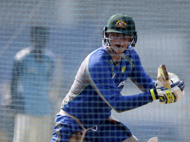 Australia captain Steve Smith sweats it out in the nets at Mumbai's Brabourne Stadium. AP