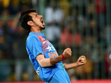 Yuzvendra Chahal celebrates after capturing one of the six wickets that he took in the 3rd T20I against England. PTI