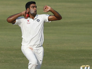 Ashwin bowls during day 4 of the Test against Bangladesh in Hyderabad. AP