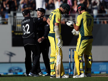 New Zealand players celebrate after winning the first ODI of the series against Australia in Auckland. AFP