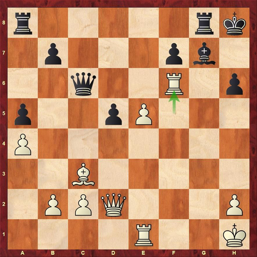 The rook moved to f6. If the bishop captures it, Qxh6 is a mate and if the queen moves then Rxh6 would lead to the same result.