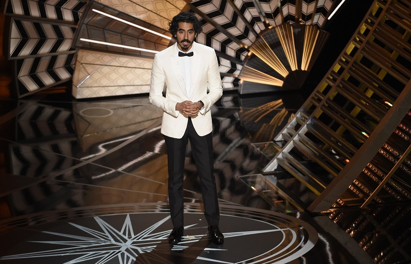 "Dev Patel introduces a performance for best original song for ""The Empty Chair"" from ""Jim: The James Foley Story"" at the Oscars on Sunday, Feb. 26, 2017, at the Dolby Theatre in Los Angeles. (Photo by Chris Pizzello/Invision/AP)"