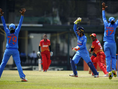Action between India and Zimbabwe in the Women's World Cup Qualifier. Image courtesy: Twitter/ @ICC
