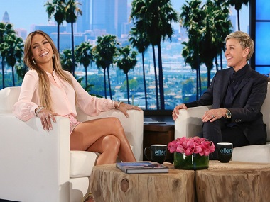 Jennifer Lopez with Ellen DeGeneres. Photo by Michael Rozman/Warner Bros.