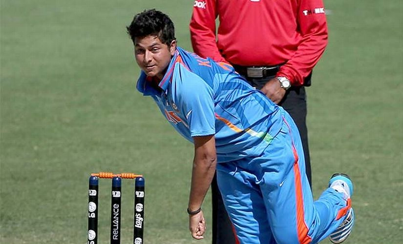Kuldeep Yadav bowls for India in the U-19 ICC World Cup. Image courtesy: ICC website