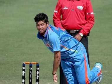 Kuldeep Yadav in action at the U-19 World Cup. Image courtesy: ICC website