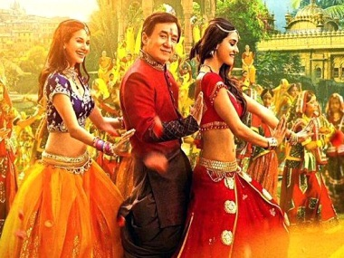 Jackie Chan with Disha Patani and Amyra Dastur in a still from 'Kung Fu Yoga'